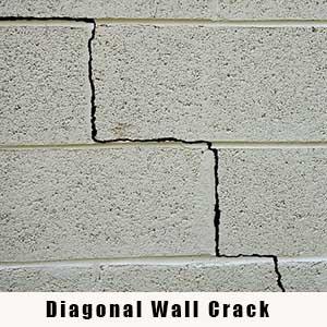 Diagonal Wall Crack - Charlotte Crawlspace Solutions - (704) 989-8219